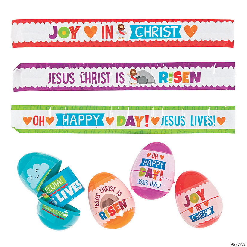 He Lives Slap Bracelet-Filled Plastic Easter Eggs - 24 Pc. Image Thumbnail