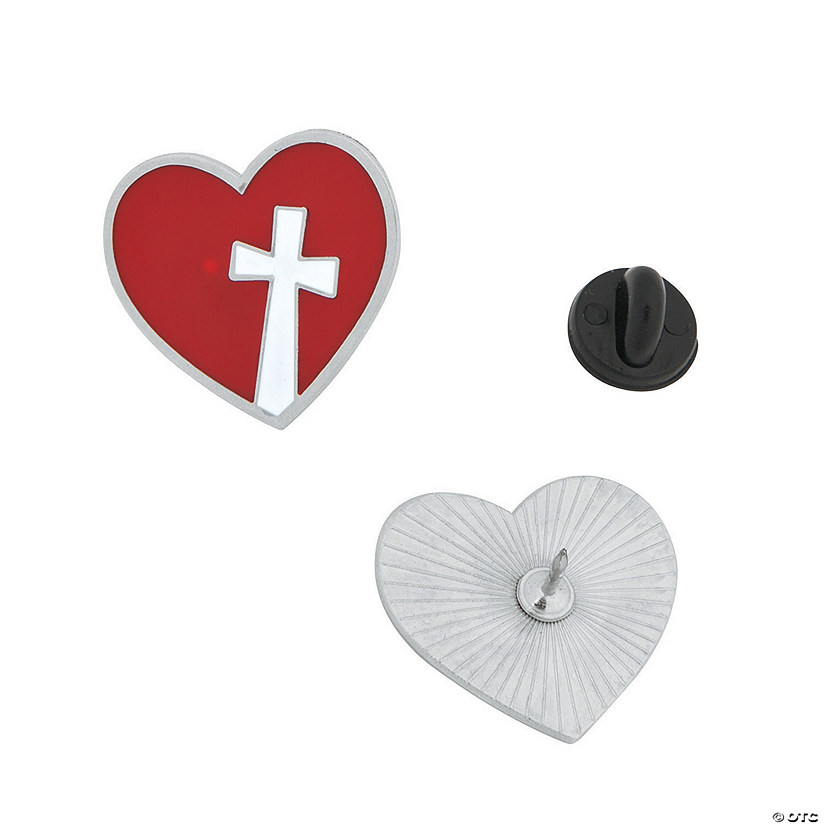 Heart & Cross Enamel Pins