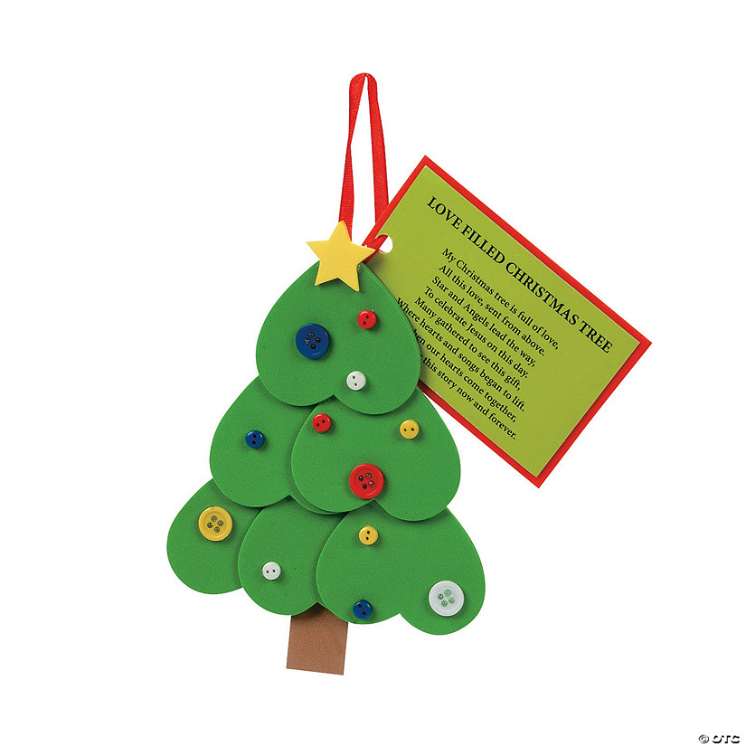 Legend Of The Christmas Tree Poem: Heart Christmas Tree Ornament With Poem Craft Kit