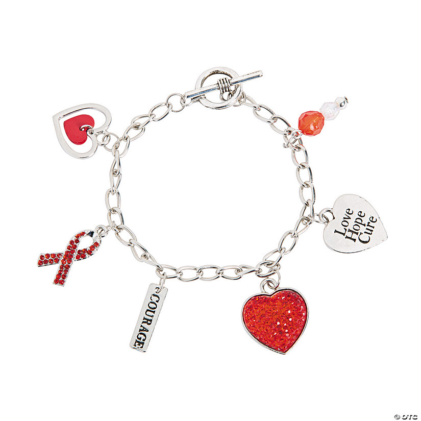 Heart Disease Awareness Bracelets With Charms