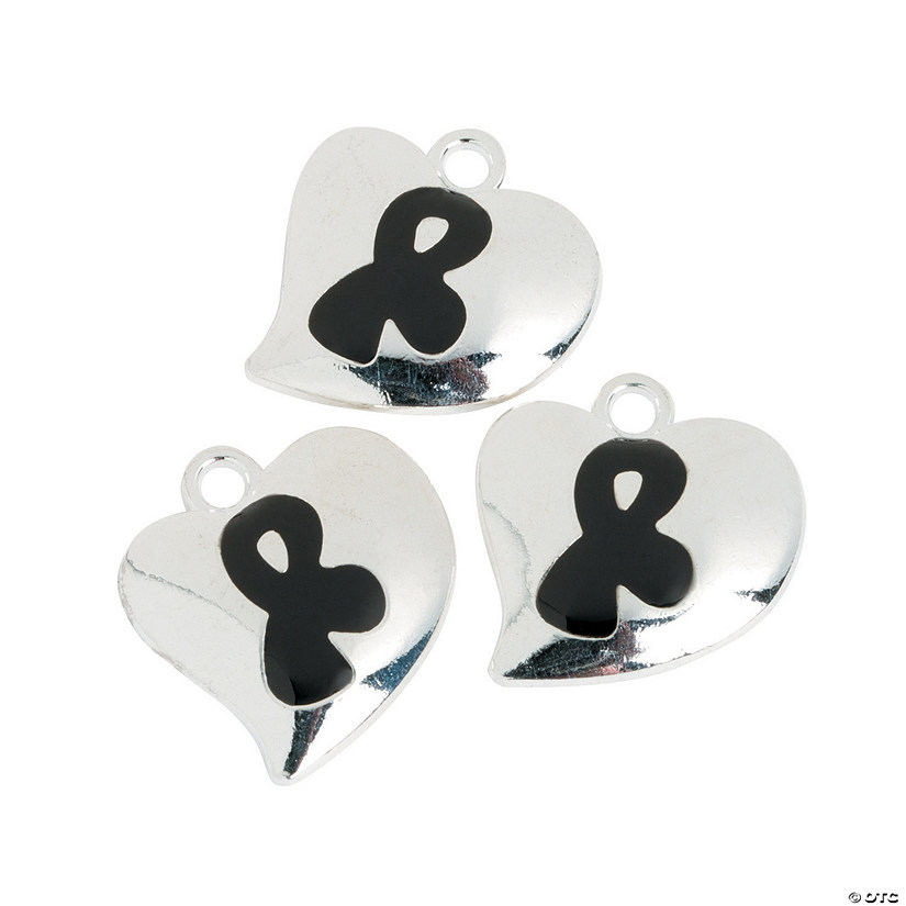 Heart-Shaped Black Awareness Ribbon Charms Image Thumbnail