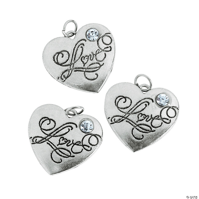 "Heart-Shaped ""Love"" Charms with Rhinestone Image Thumbnail"
