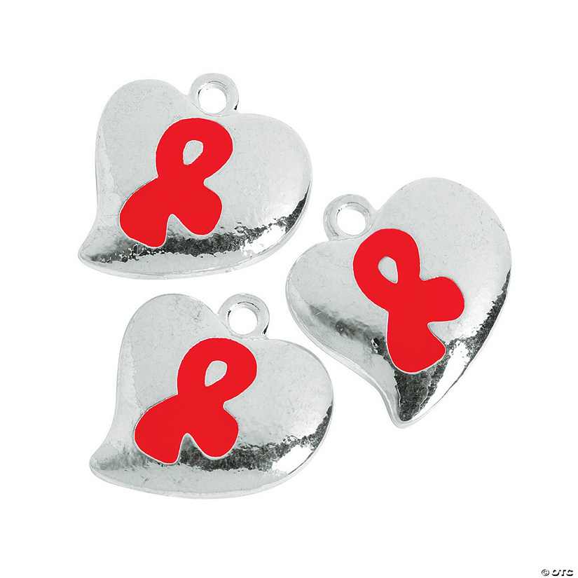 Heart Shaped Red Ribbon Charms - 20mm