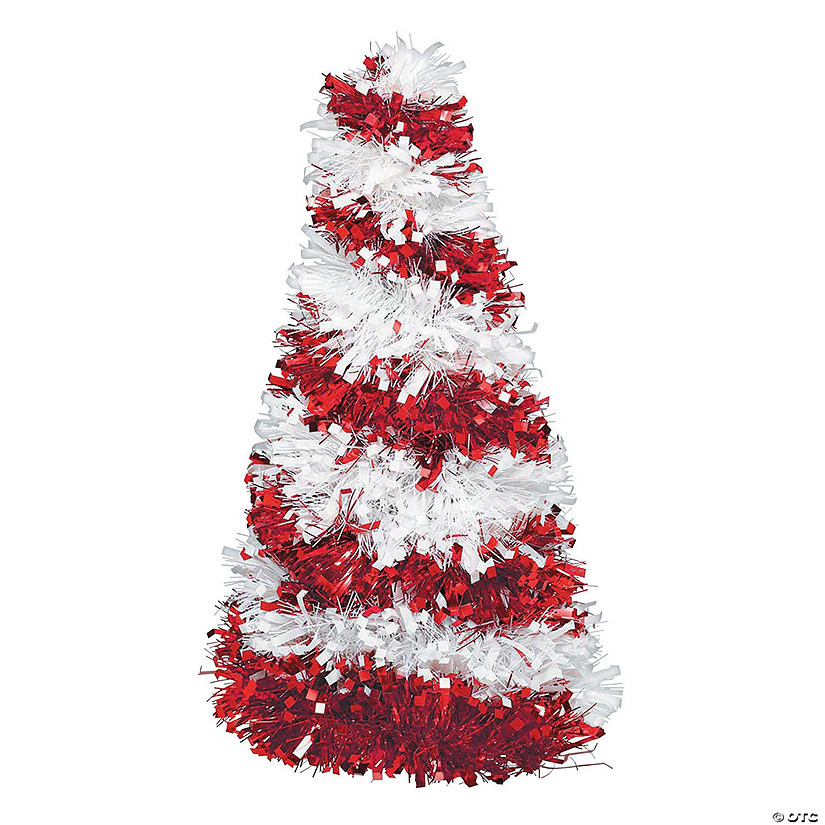 Holiday Tinsel Candy Cane Tree