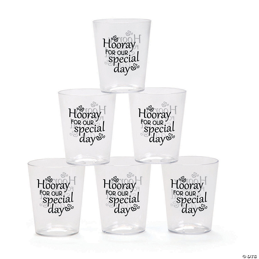 Hooray For Our Special Day Plastic Shot Glasses