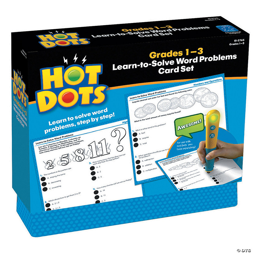 Hot Dots® Learn to Solve Word Problems Set Grades 1-3