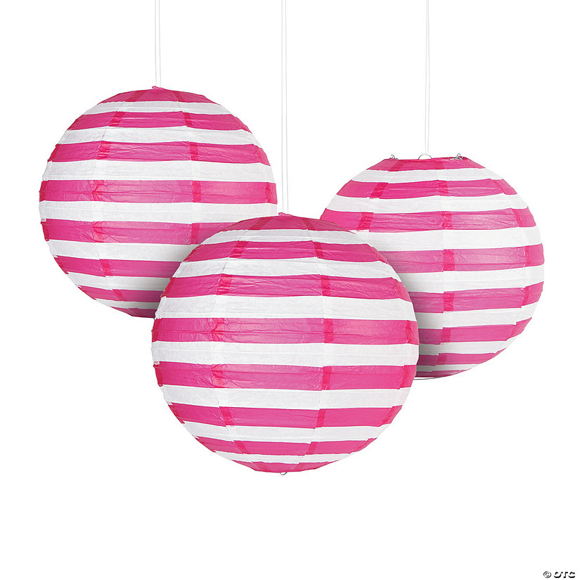 Hot Pink Striped Hanging Paper Lanterns Audio Thumbnail