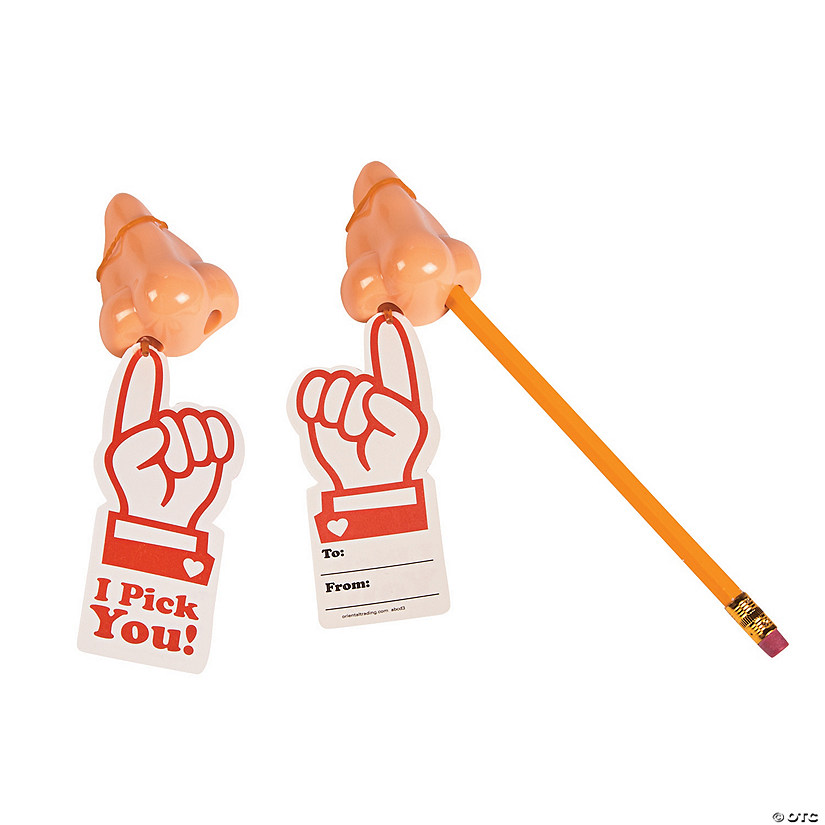 I Pick You Nose Pencil Sharpeners with Valentine's Day Cards Image Thumbnail