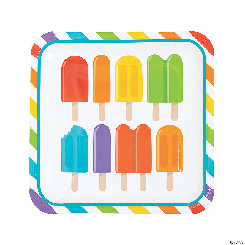 Ice Pop Party Square Paper Dinner Plates - 8 Ct. Audio Thumbnail