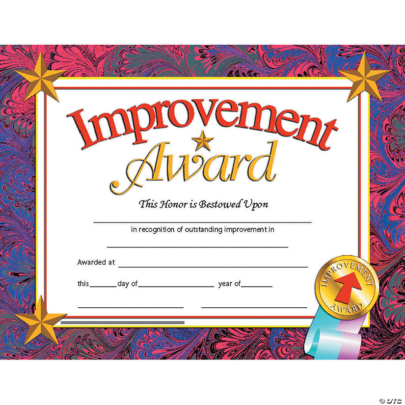 Improvement Award Certificate, 30 per Pack, 6 Packs