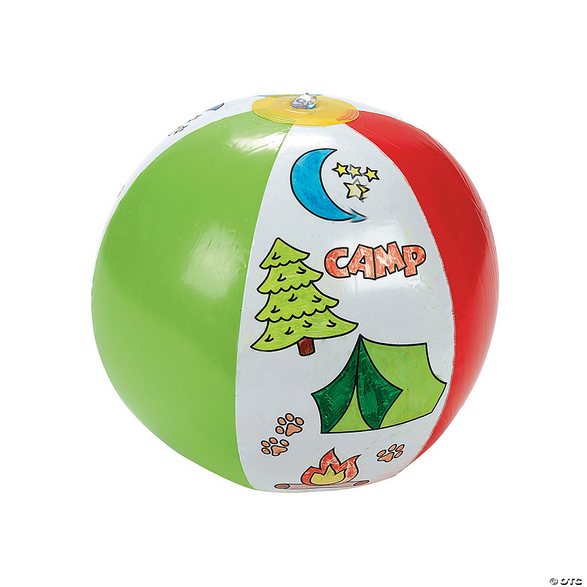 "Inflatable 12"" Color Your Own Camp Large Beach Balls Audio Thumbnail"
