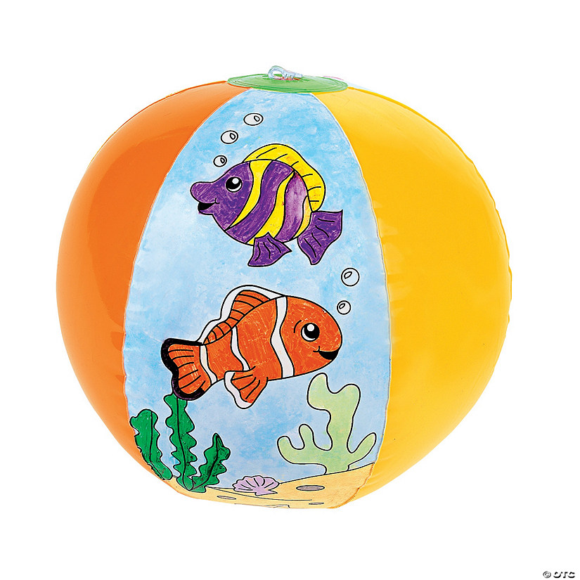 "Inflatable 12"" Color Your Own Fish Large Beach Balls Audio Thumbnail"