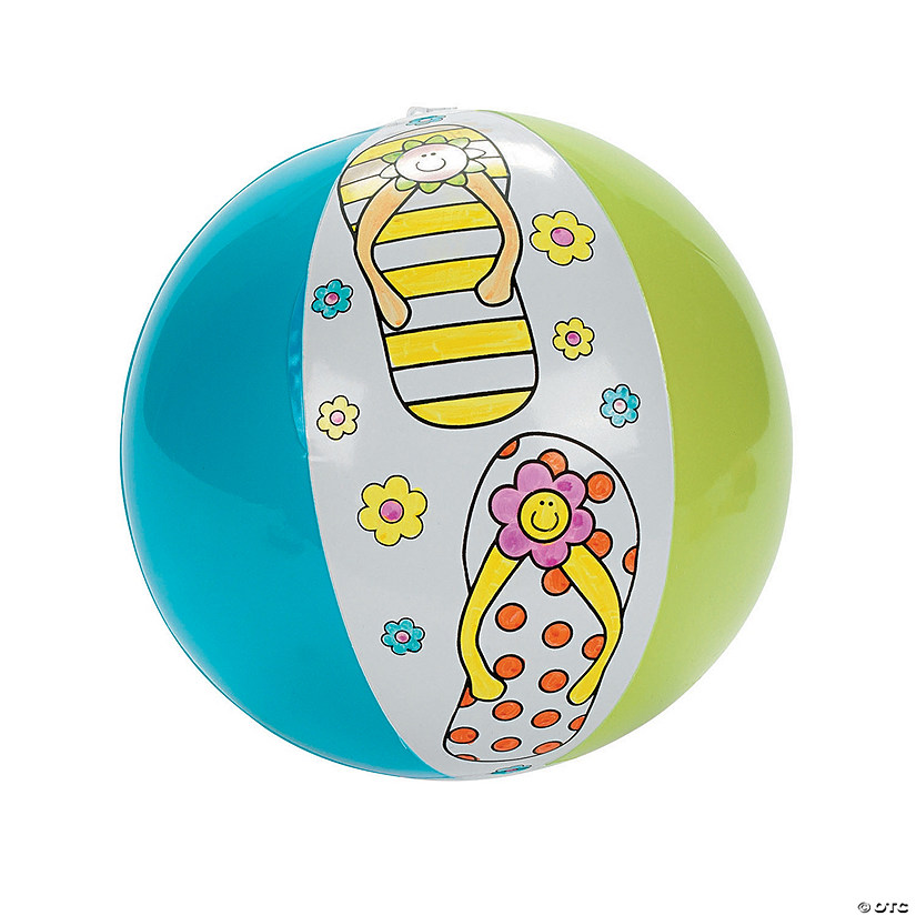 "Inflatable 12"" Color Your Own Flip Flop Large Beach Balls"