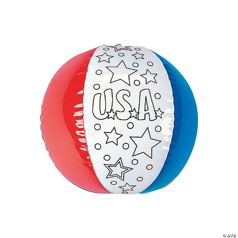 "Inflatable 12"" Color Your Own Patriotic Large Beach Balls Audio Thumbnail"
