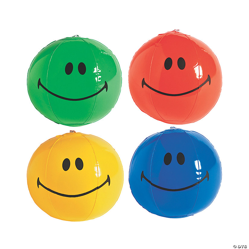 "Inflatable 5"" Smile Face Mini Beach Balls"