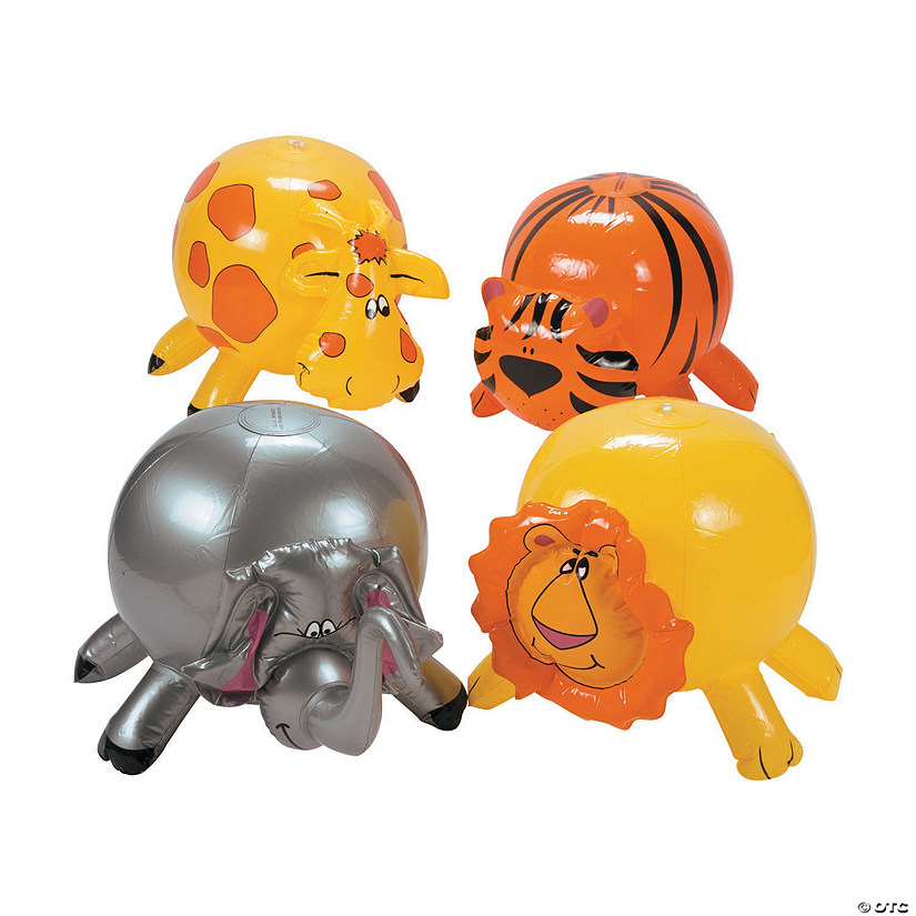 "Inflatable 9"" Zoo Animal Medium Beach Balls"