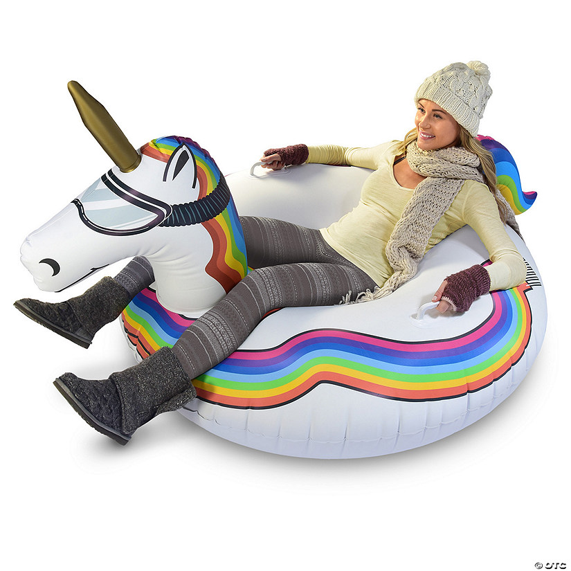 Inflatable GoFloats™ Unicorn Winter Snow Tube Image Thumbnail
