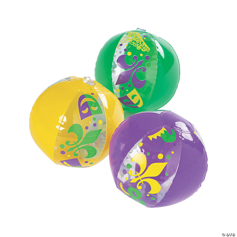 Inflatable Mardi Gras Mini Beach Balls Image Thumbnail