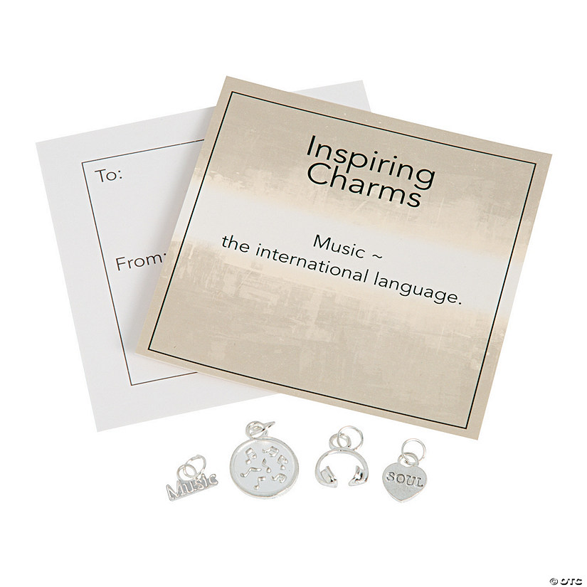 Inspiring Silvertone Music Charms with Inspirational Tag