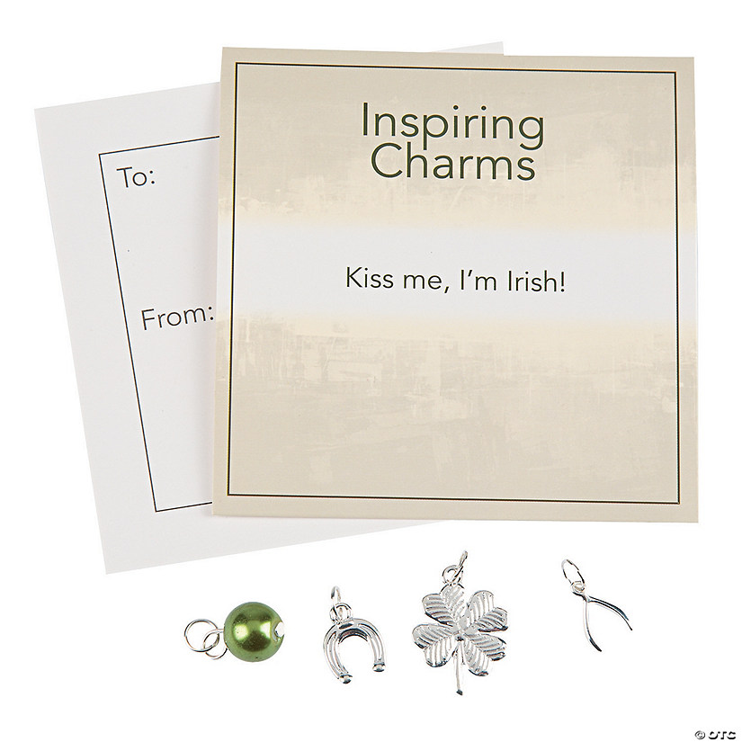 Inspiring Silvertone St. Patrick's Day Charms with Inspirational Tag