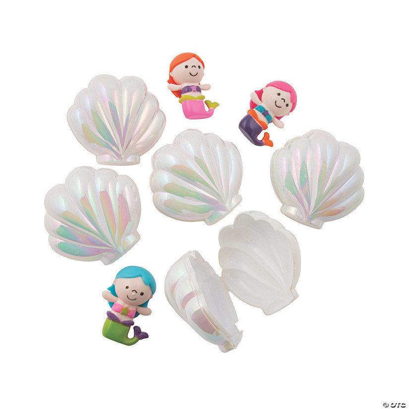 Iridescent Sea Shell Toy-Filled Plastic Easter Eggs - 12 Pc. Image Thumbnail