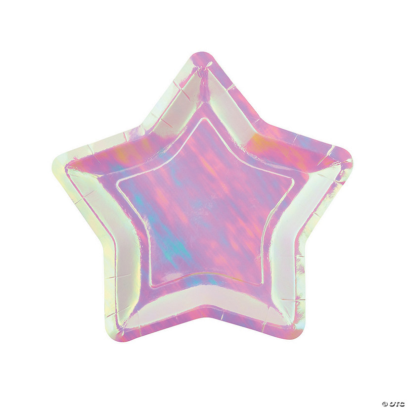 Iridescent Star Paper Dessert Plates - 8 Ct. Image Thumbnail