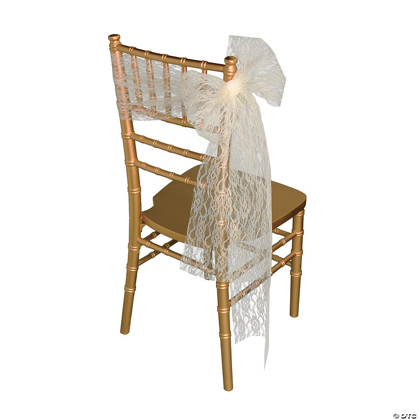 Ivory Lace Ribbon Chair Cover Audio Thumbnail