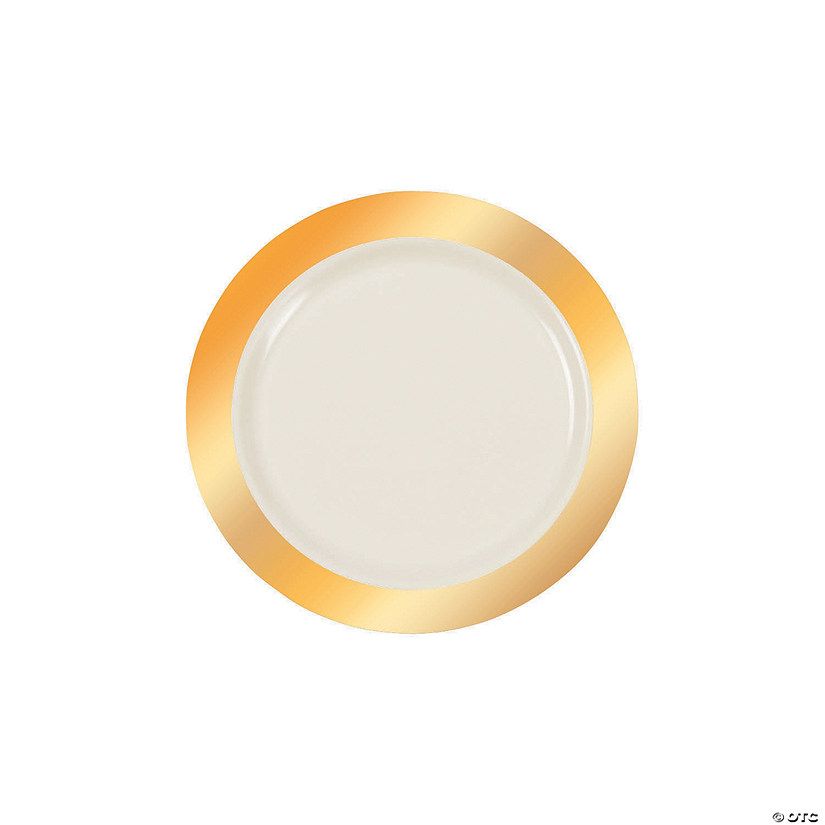 Ivory Premium Plastic Dessert Plates with Gold Border Audio Thumbnail