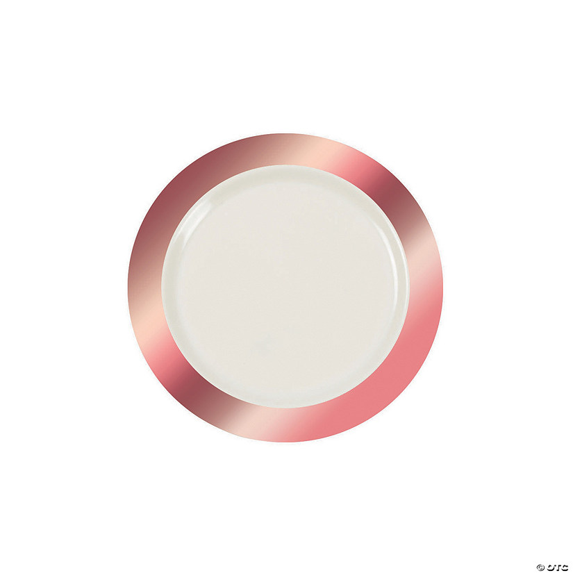 Ivory Premium Plastic Dessert Plates with Rose Gold Border Audio Thumbnail