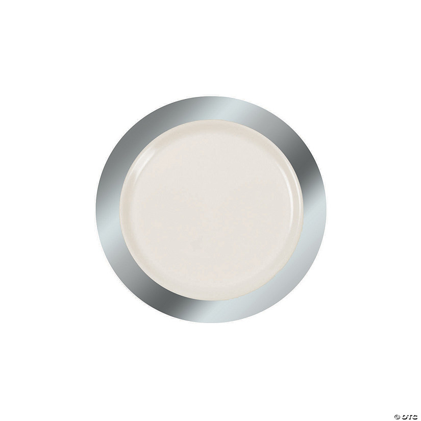 Ivory Premium Plastic Dessert Plates with Silver Border Audio Thumbnail