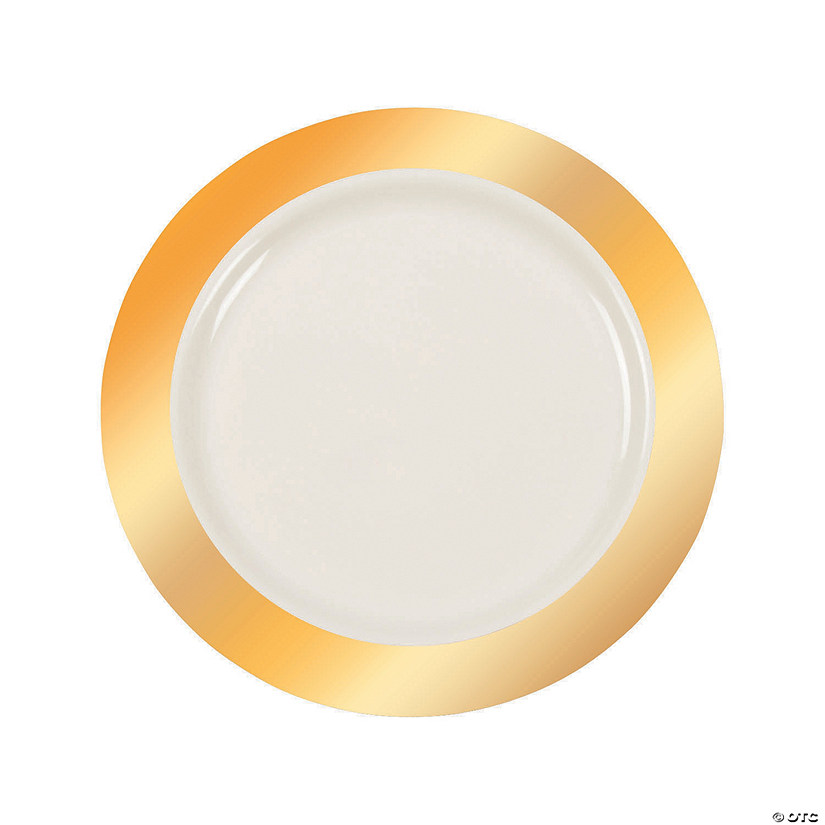 Ivory Premium Plastic Dinner Plates with Gold Border