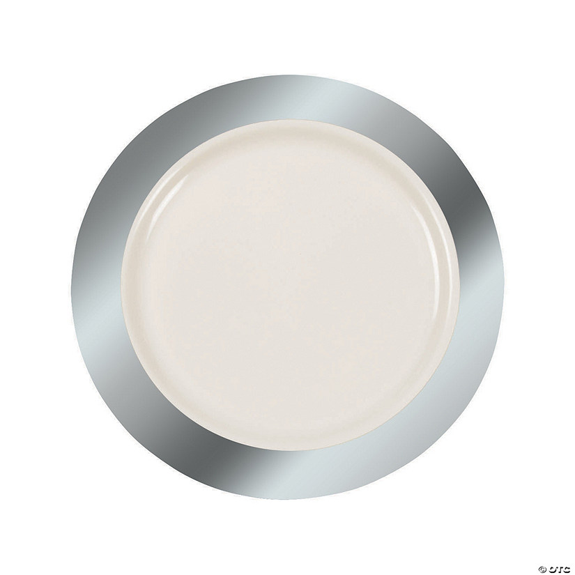 Ivory Premium Plastic Dinner Plates with Silver Border Audio Thumbnail