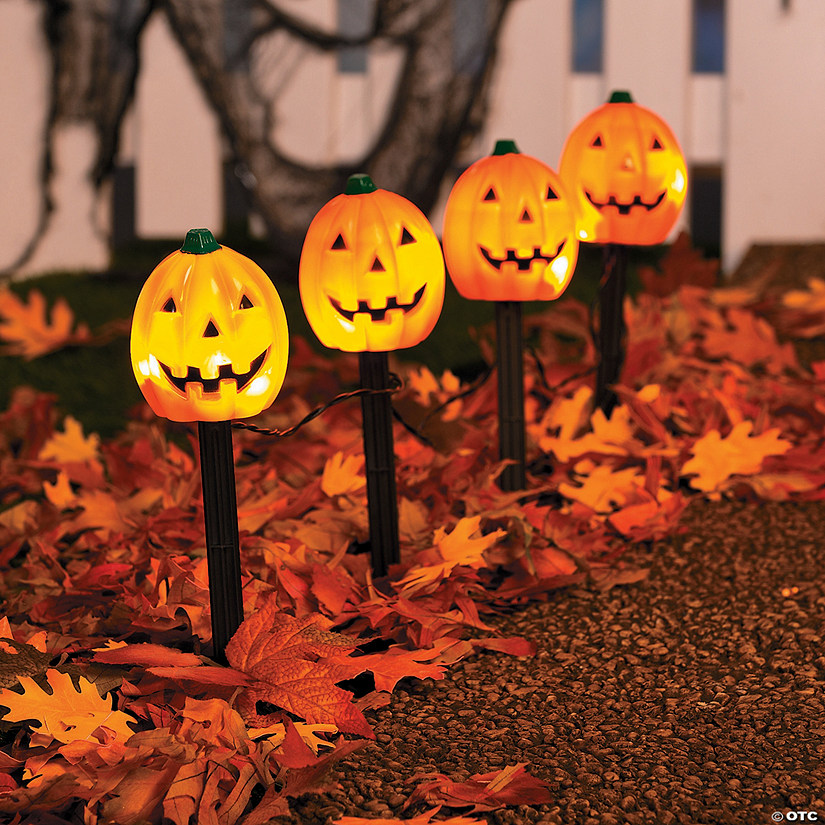 Jack-O'-Lantern Path Marker Party Lights Halloween Decoration Image Thumbnail