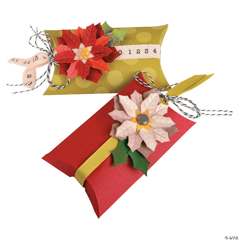 Sizzix Box Pillow and Poinsettias by Jen Long Thinlits Die Set Pack of 7 Multi