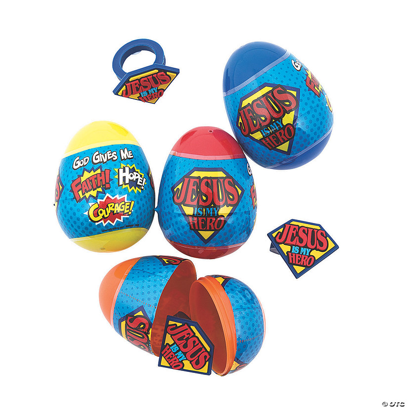 Jesus Is My Hero Ring-Filled Easter Eggs - 12 Pc.