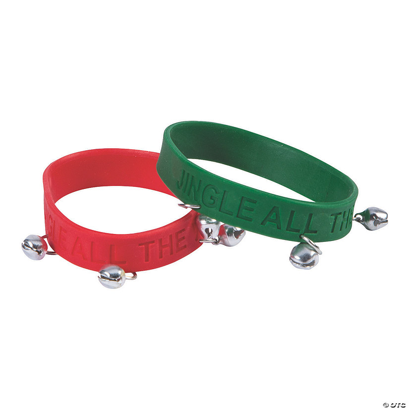 Jingle All the Way Rubber Bracelets with Jingle Bells