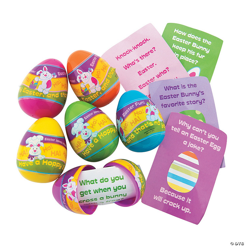 Joke-Filled Plastic Easter Eggs - 12 Pc. Image Thumbnail