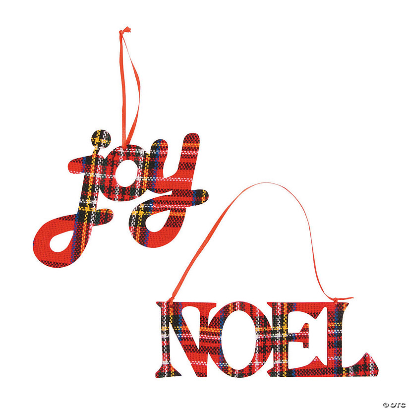 Joy & Noel Plaid Christmas Ornaments Audio Thumbnail