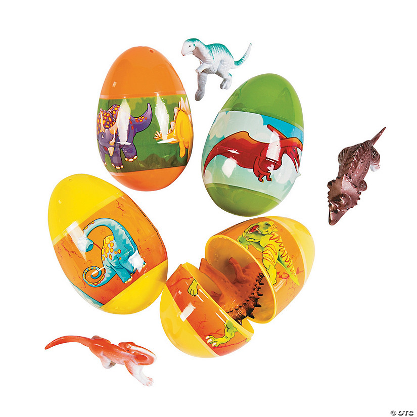 Jumbo Dinosaur Toy-Filled Plastic Easter Eggs - 12 Pc. Image Thumbnail