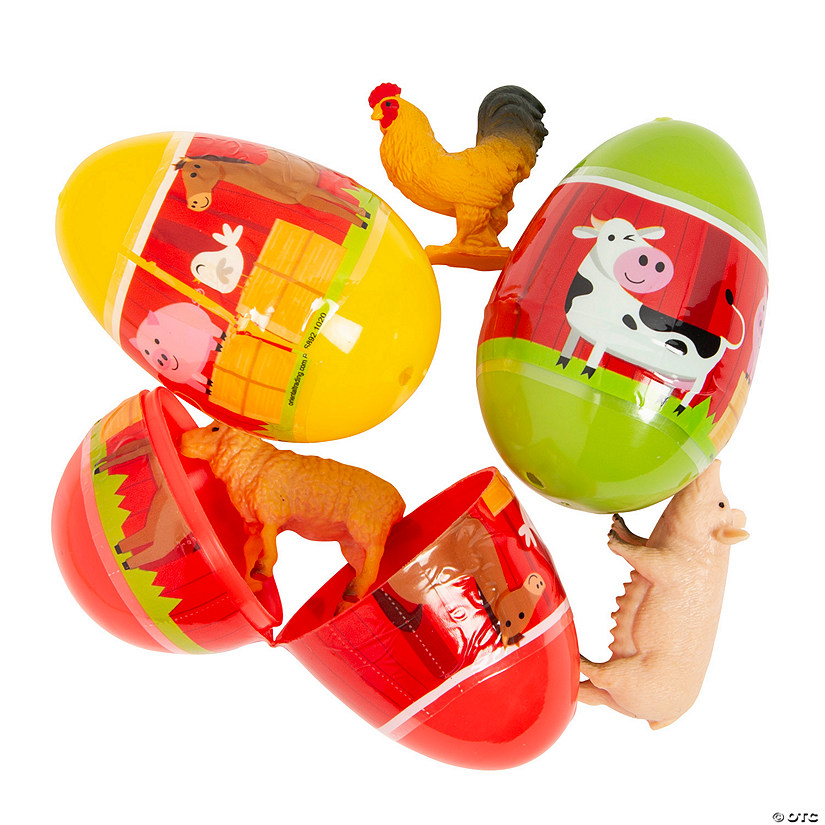 Jumbo Farm Animal Toy-Filled Easter Eggs - 12 Pc. Image Thumbnail