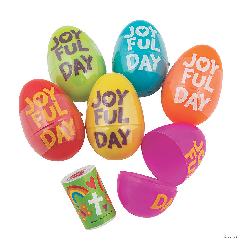 Jumbo He Lives Prism-Filled Plastic Easter Eggs - 24 Pc. Image Thumbnail