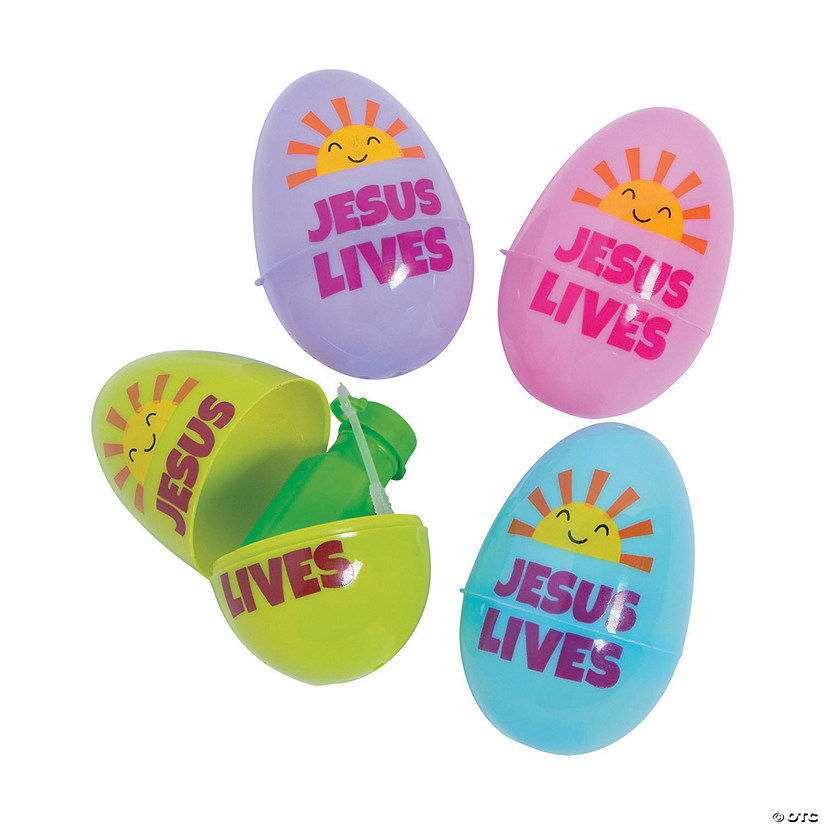 Jumbo Religious Bubble Bottle-Filled Plastic Easter Eggs - 24 Pc. Image Thumbnail