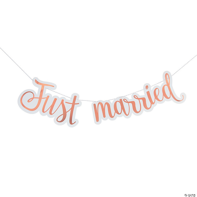 Just Married Rose Gold Foil Banner Audio Thumbnail