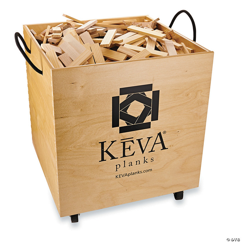 KEVA Maple 1,000 Planks in Wood Roller Bin Image Thumbnail