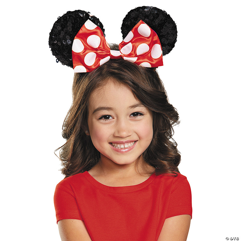Kid's Red Minnie Mouse Bow Sequin Ears Audio Thumbnail