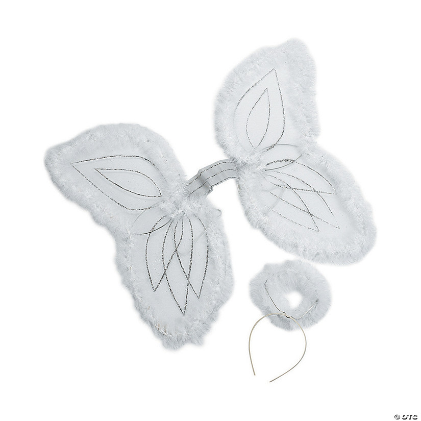 Kid's White Marabou Angel Wings & Halo Headband Audio Thumbnail