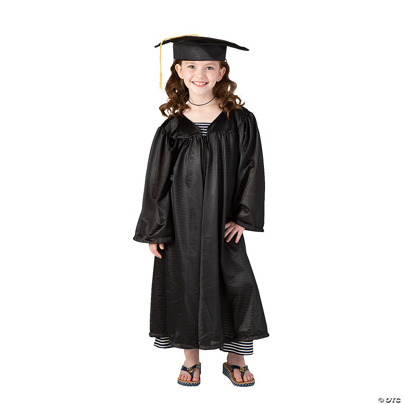 Kids' Black Elementary School Graduation Mortarboard Hat & Gown Set Audio Thumbnail