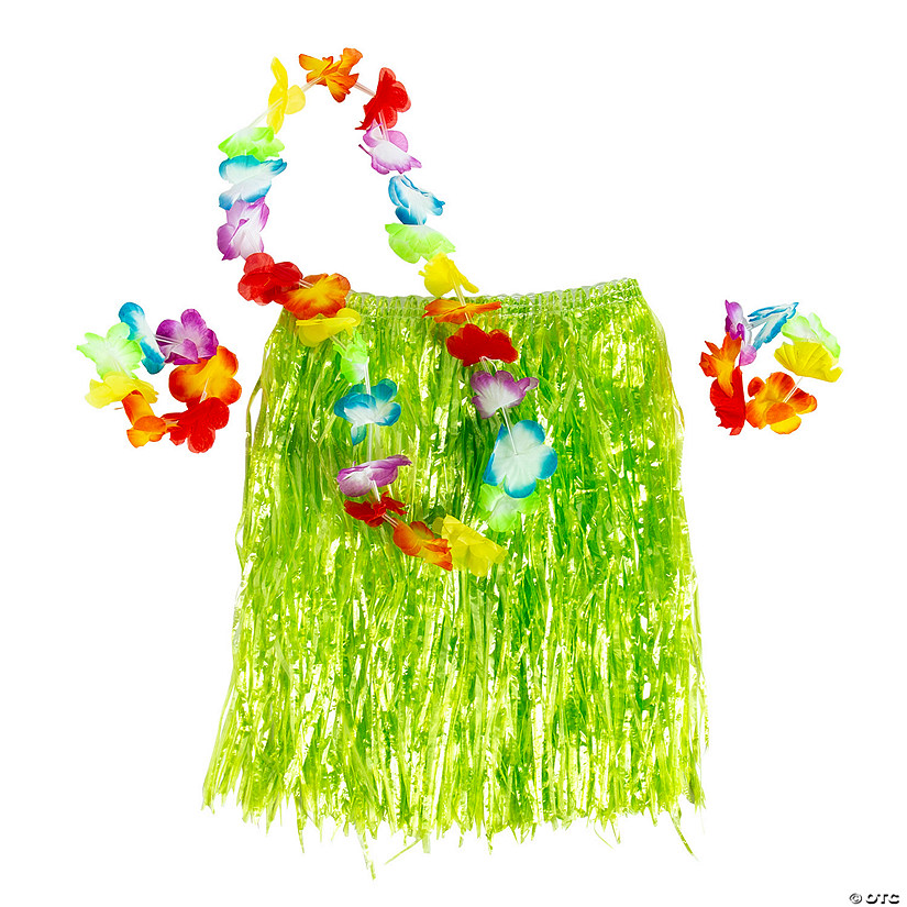 Kids' Green Hula Skirt Set Image Thumbnail