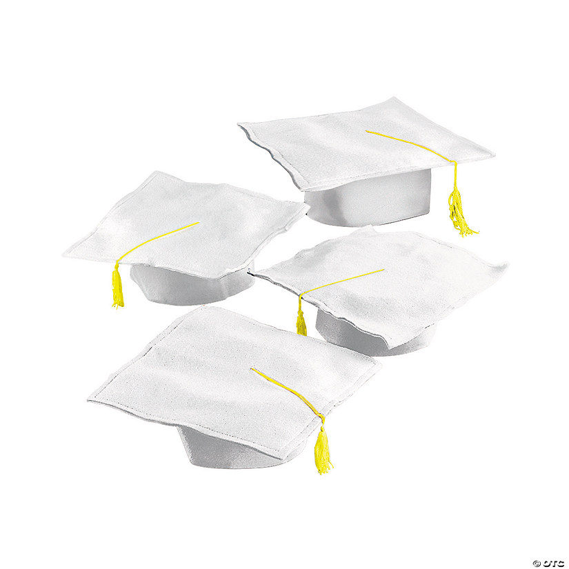 Kids' White Felt Elementary School Graduation Mortarboard Hats Audio Thumbnail