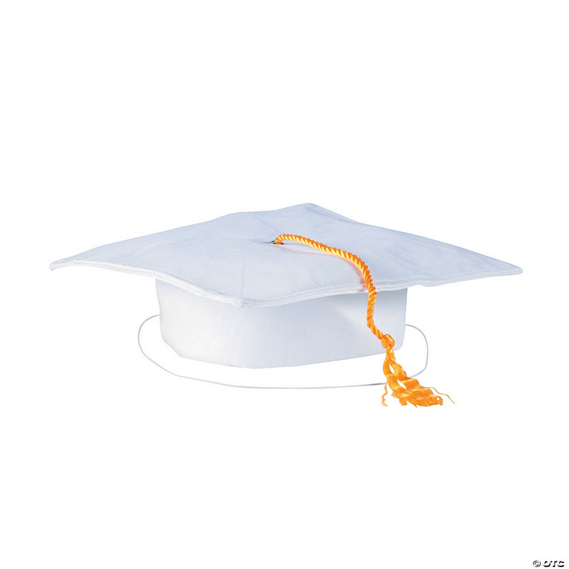 Kids' White Matte Elementary School Graduation Mortarboard with Tassel Audio Thumbnail